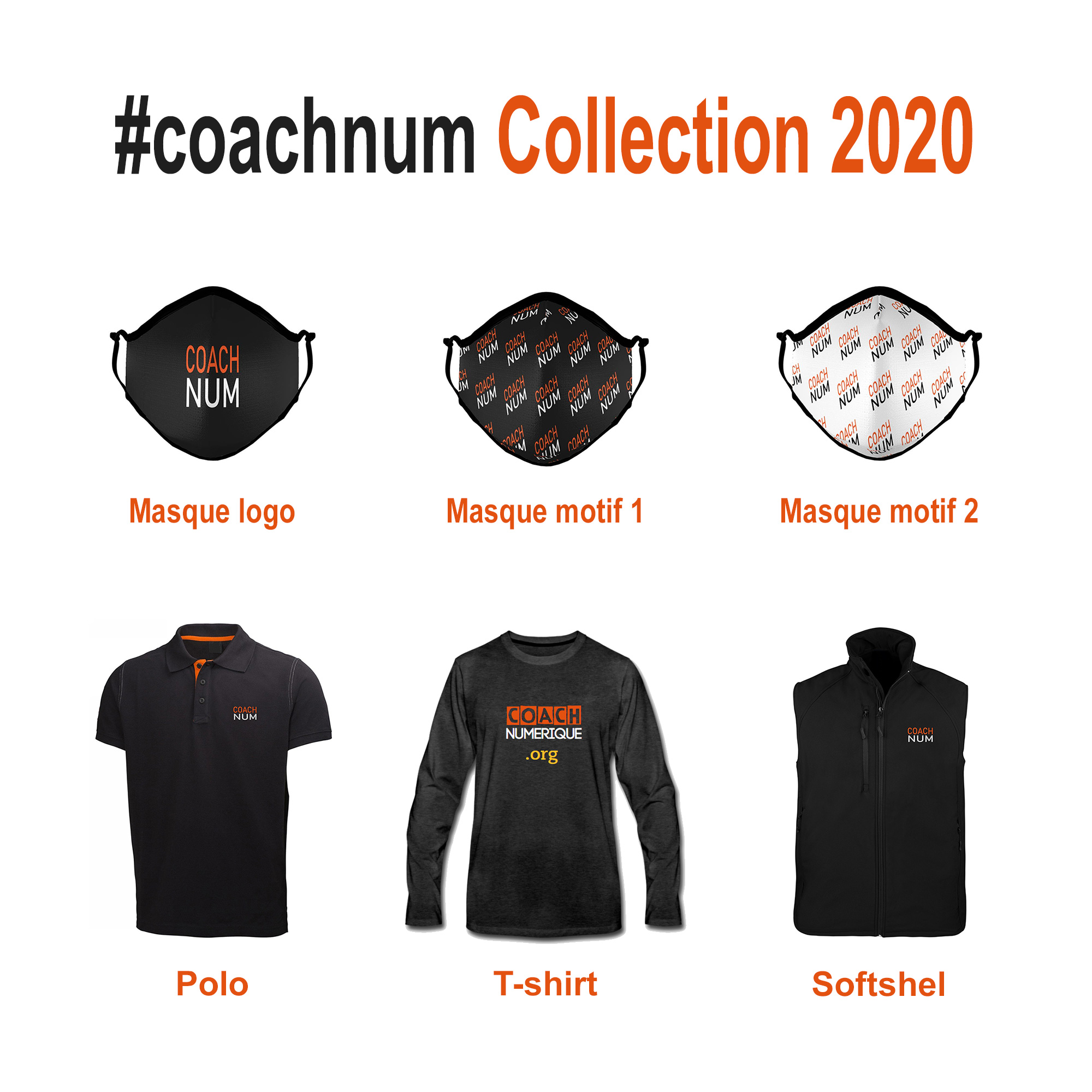 Coachnum Collection 2020 coach numerique Masque Logo ️Motif Polo T-shirt Softshel